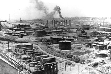 Black and white image of an industrial city