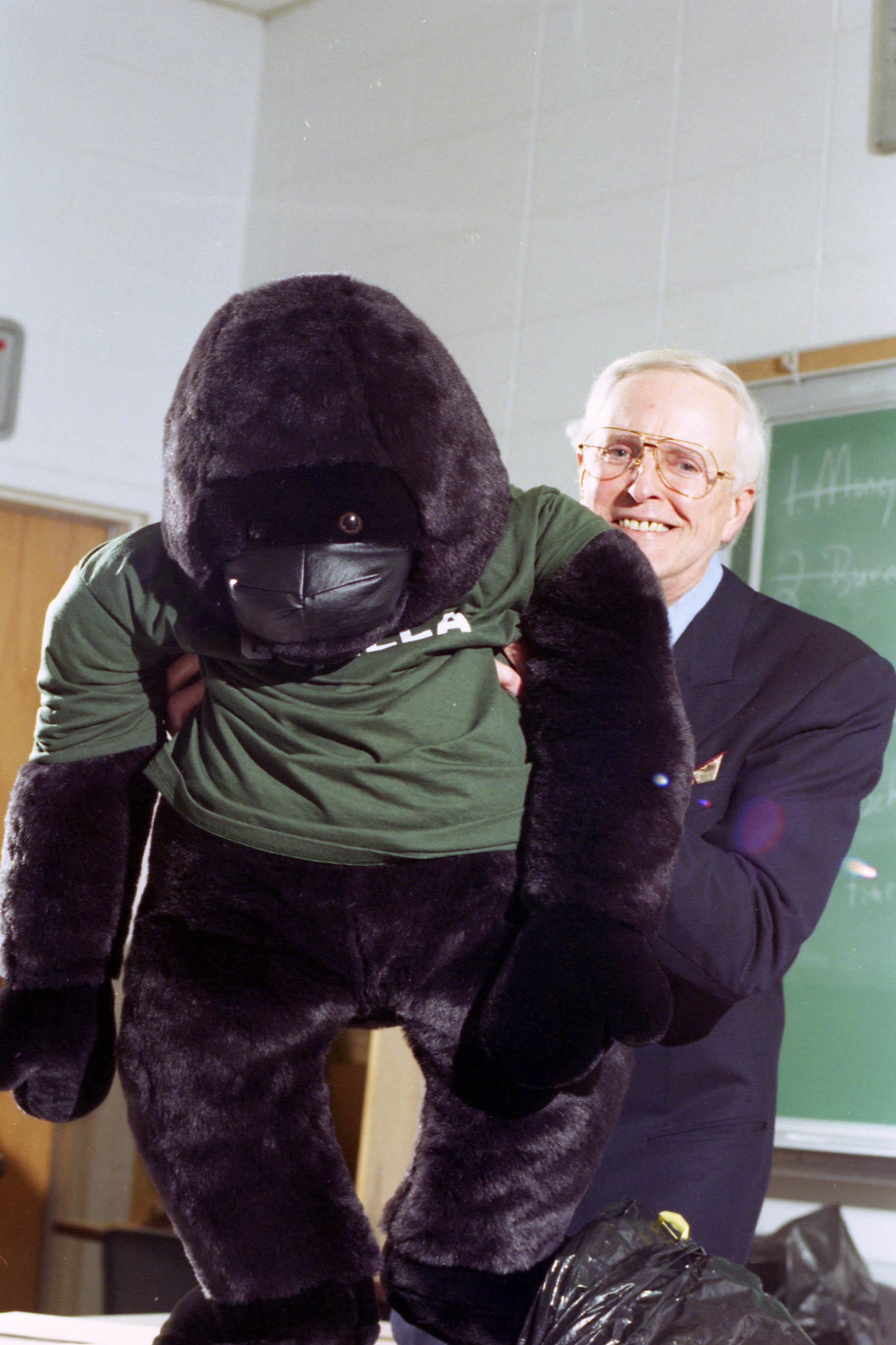 Richard Osborne holding stuffed gorilla