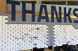 The Thanks Beyond the Possible sign in Tinkham Veale University Center