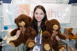 Xyla Foxlin holds teddy bears at CES 2016