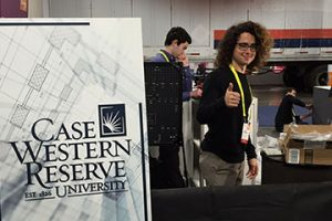 Matt Campagna gives the thumbs up as he sets up for CES 2017