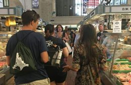 Students walking through the West Side Market