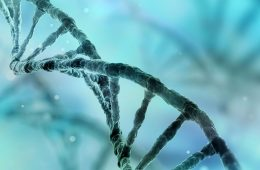 Blue-tinted DNA helixes