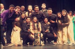 Dhamakapella poses for group photo with trophy