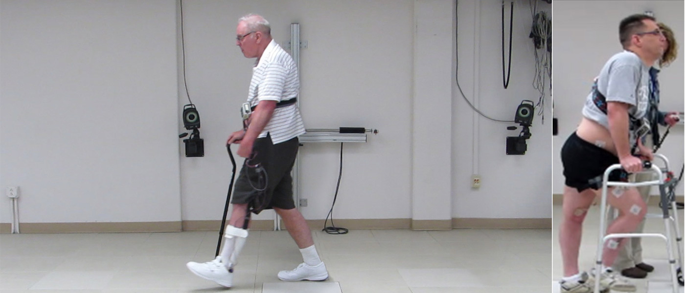 A volunteer who suffered a stroke, walks with a cain, and a volunteer with multiple sclerosis, walks with a walker. Both are aded by neural stimulation systems.
