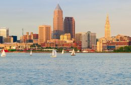 Photo of Cleveland skyline along Lake Erie