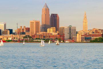 Photo of Cleveland skyline along Lake Erie
