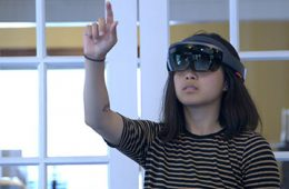 Photo of student wearing Microsoft HoloLens