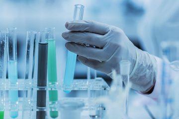 Unrecognizable chemist taking a test tube in a laboratory