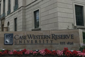 Case Western Reserve University sign at the corner of Euclid and Adelbert Road