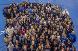 Photo of the Division of Student Affairs team taken from above