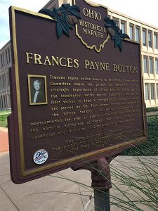 A photo of one side of the Frances Payne Bolton Ohio Historical Marker plaque