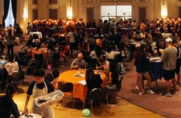 Photo of people gathered around tables at Asian Mid-Autumn Festival