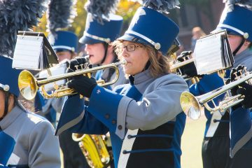 Photo of members of the CWRU marching band performing