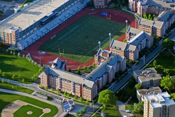 Aerial view of DiSanto Field and surrounding residence halls