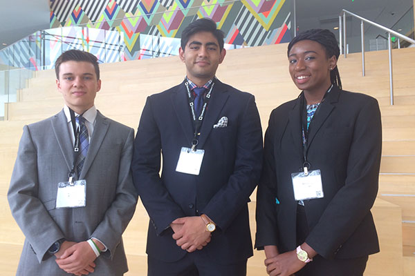 Photo of CrasBand team members Josef Scheidt, Rohan Sinha and Nsisong Udosen.