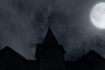 Photo of a roof on a dark and cloudy night with full move above
