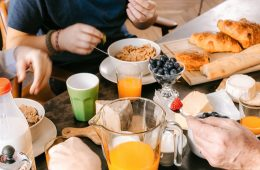 people eating breakfast at table