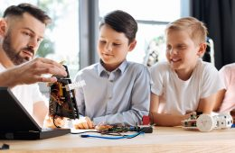 children learning about robotics