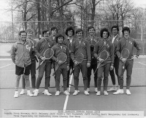 Doug Mooney with 1972 CWRU varsity tennis team
