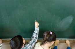 children writing on chalkboard