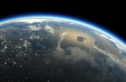 Rendering of Earth from space