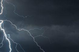 A lightning strike across a dark sky