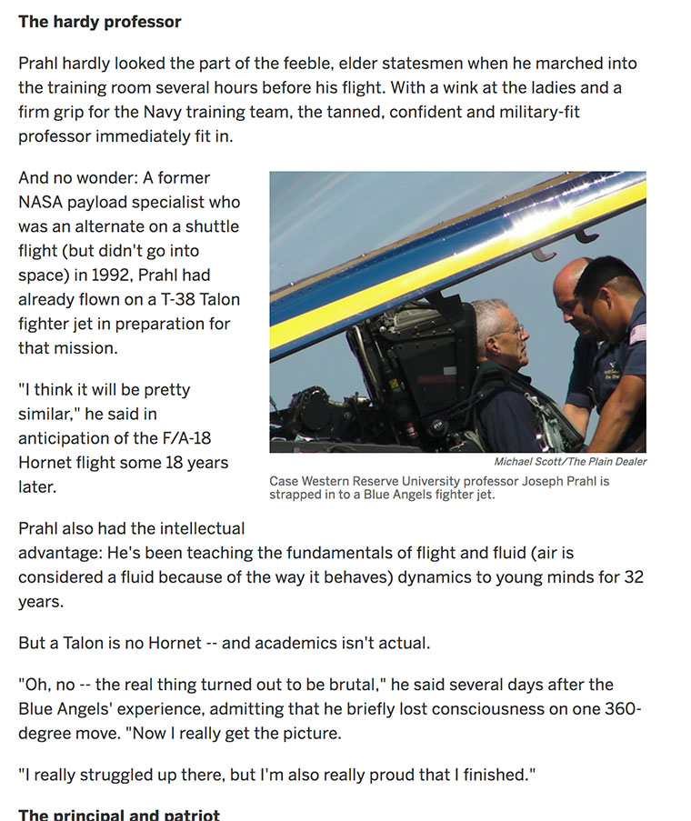 A cleveland.com/Plain Dealer story when Prahl flew with the Blue Angels in 2010.