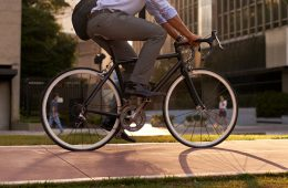 businessperson going to work on their bike