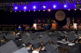 The crowd at Case Western Reserve University commencement with the stage in the background