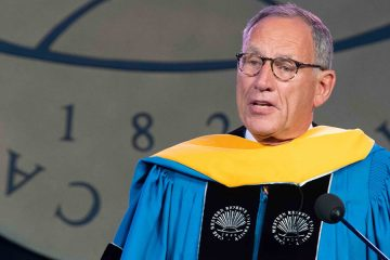Photo of Toby Cosgrove speaking at commencement