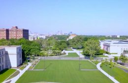 aerial view of the Nord Family Greenway, from Case Western Reserve University's Tinkham Veale University Center toward Cleveland Museum of Art and Maltz Performing Arts Center
