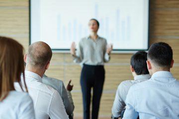woman presenting seminar