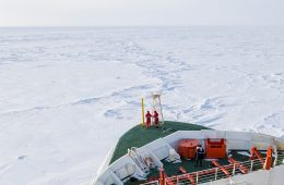 A shipping boat in polar area