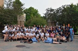 A large group of Case Western Reserve University Greek Life students pose before move-in begins