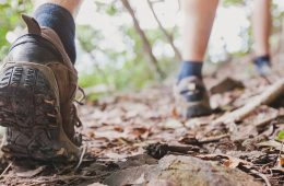 Close-up photo on a hiker's shoes on a path covered in leaves