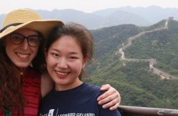 Two Case Western Reserve University students pose for photo on study abroad trip in China