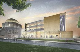 Rendering of the exterior of the Roe Green Proscenium Theater
