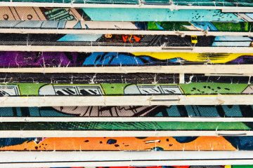 Close-up on a stack of vintage comic books