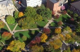 Aerial photo of the Case Western Reserve University campus, especially Case Quad and Adelbert Hall, in fall