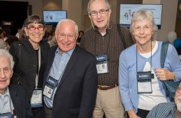 Six individuals pose for photo at School of Medicine homecoming luncheon event