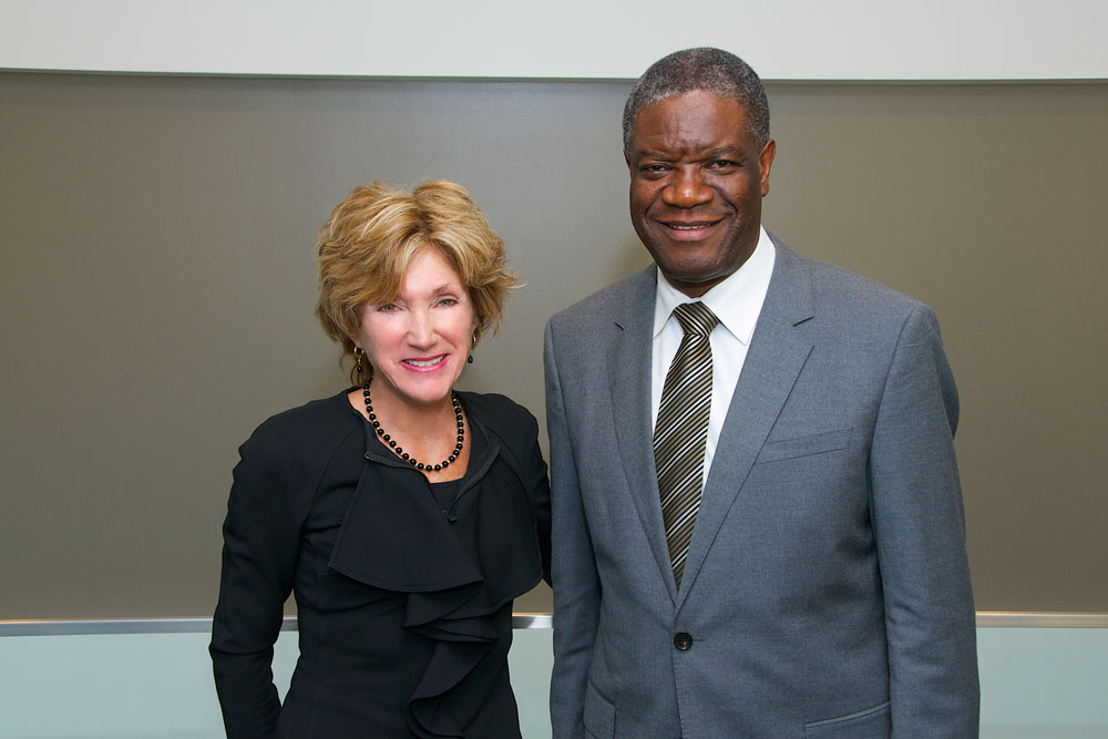 President Barbara R. Snyder poses for photo with Denis Mukewege during his visit to Case Western Reserve University