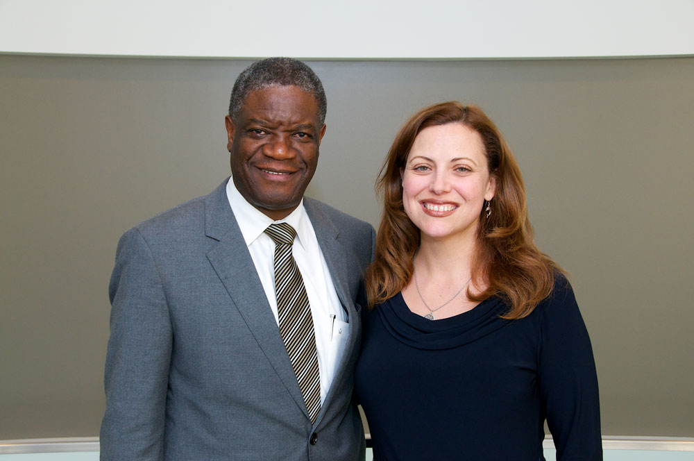 Shannon French poses for photo with Denis Mukewege during his visit to Case Western Reserve University