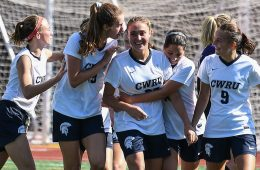 Members of the Case Western Reserve University women's soccer team celebrate