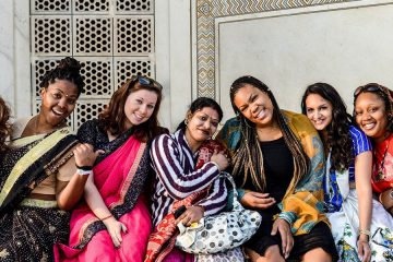 Case Western Reserve University students pose for a group photo on a study abroad trip