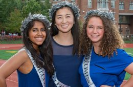 Three female students pose for photo as Case Western Reserve University's 2017 homecoming royalty