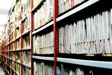 archival stacks at a library