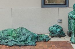 The homeless sculpture outside the Mandel School at Case Western Reserve University.