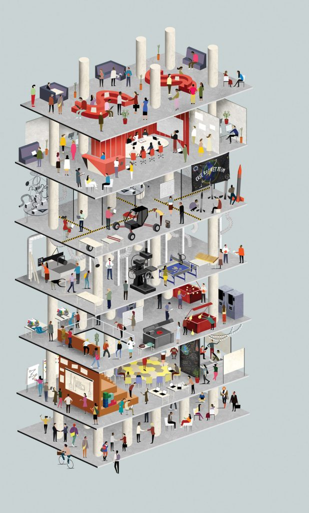 Illustration that demonstrates the various activities that take place in Sears think[box] with a floor-by-floor depiction