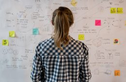 Student entrepreneur looking at a board with written ideas and sticky notes with back to camera